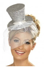 SILVER Fever Mini Top Hat on Clip Ladies Mini Glitter Top Hat