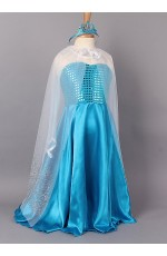 Girls Frozen Elsa Queen Fancy Dress Costume