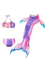Girls Mermaid Tail Monofin Swimsuit Bikini Costume