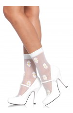 Sheer spandex woven daisy anklets
