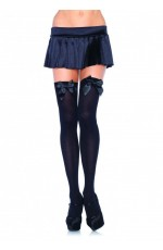 Black Tight High Stockings With Black Bow