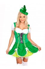 St Patricks Leprechaun Oktoberfest Beer Maid German Fancy Dress Costume