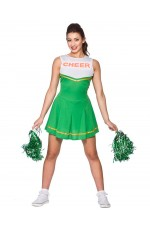 Green Ladies Cheerleader School Girl Uniform Fancy Dress Costume