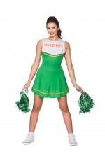 Green Ladies Cheerleader School Girl Uniform Fancy Dress Costume