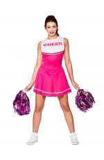 Pink Ladies Cheerleader School Girl Uniform Fancy Dress Costume