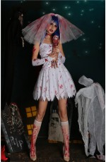 Ladies Zombie Blood Bride Halloween Fancy Dress Costume