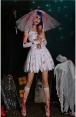 Ladies Zombie Blood Bride Halloween Fancy Dress Costume