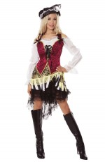 Pirate Costumes - Ladies Caribbean Pirate Velvet Costume Wehch Swashbuckler Fancy Dress Outfit Hat