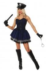 Ladies Navy Blue Police woman Costume Cops Uniform Officer Halloween Fancy Dress