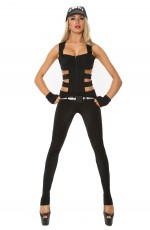New Ladies Woman Black SWAT Cop Police Uniform Party Fancy Dress Costume Outfit