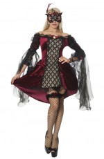 Ladies Vampire Devil Princess Countess Halloween Medieval Fancy Dress Costume