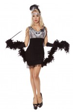 Black Teen Girls 1920s Flapper Charleston Fancy Dress Costume Cigarette Holder Necklace Boa