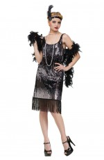 Ladies 20s 1920s Charleston Flapper Chicago Fancy Dress Costume