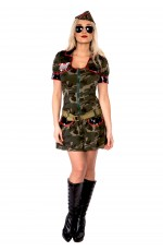 Ladies Army Girl Military Uniform Top Gun Flight Soldier Costume FBI Fancy Dress