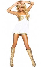 White with Gold Mini Dress