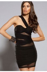 Ladies One Shoulder Black Mini Dress