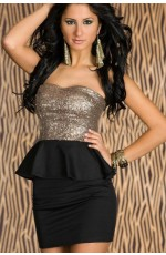 Black Sequins Strapless Club Wear