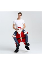 Xmas Santa Shoulder Carry On Piggy Back Ride On Me Fancy Dress Adult Party Costume Mens Outfit