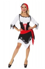 Pirate Costumes - Ladies Pirate Wench Musketeer Caribbean Swashbuckler Fancy Dress Costume