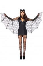 Ladies Devil Sexy Bat Woman Super Hero Halloween Horror Fancy Dress Costume