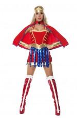 Ladies Superhero Wonder Supergirl Halloween Fancy Dress Costume Adult Outfit