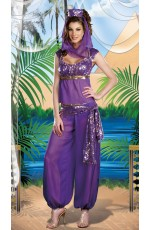 Arabian Genie Aladdin Fancy Dress Up Costume Outfit Purple