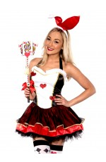Ladies Rabbit Bunny Costume Mad Hatter Alice In Wonderland Queen Fancy Dress