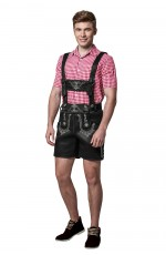 Mens Black Lederhosen PU Leather Costume