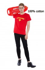 Mens Bay Beach watch Lifeguard Uniform T-shirt Fancy Dress Costume Outfits