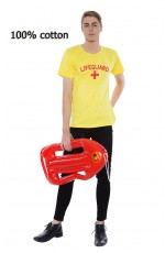 Mens Beach Lifeguard Uniform T-shirt Fancy Dress Costume Outfits