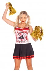 Ladies Halloween Zombie Bloody Cheerleader Costume