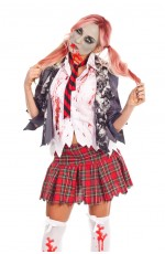 Ladies Halloween Bloody Zombie School Girl Dress Costume