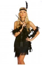 Ladies 20s 1920s Charleston Flapper Black Chicago Fancy Dress Costume