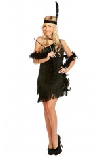 Ladies 1920s Flapper Fancy Dress Costume Black Color