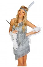 Ladies 20s 1920s Charleston Flapper Grey Chicago Fancy Dress Costume
