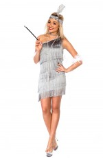 Ladies 1920s Flapper Grey Fancy Dress Costume