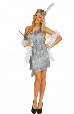 Ladies 20s Charleston Flapper Grey Chicago Costume
