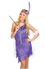 Ladies 1920s Flapper Fancy Dress Costume purple