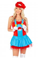 Womens Super Mario Brothers Plumber Fancy Dress Up Party Costume + gloves