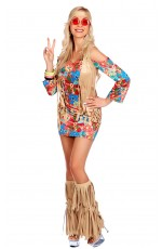 Ladies 1970s Hippie Hottie Ho Fancy Dress Costume