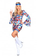 Ladies 60s 70s Abba Retro Hippie Fancy Dress Costume-NO headband