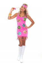 Ladies 60s 70s Retro Hippie Go Go Girl Disco Costume Hens Party Fancy Dress