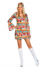 Ladies 1960s 70s Disco Retro Hippie Go Go Girl Costume