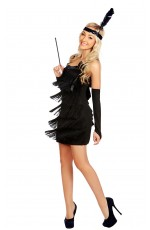 Ladies Black 1920s Flapper Fancy Dress Costume