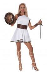Ladies Greek Gladiator Warrior Goddess Adult Roman toga Costume Halloween Dress