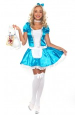 Ladies Alice In Wonderland Fancy Dress Halloween Full Outfit Disney Theme Costume