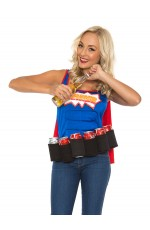 Adult Oktoberfest Super Six-Pack Beer Girl Hero Superhero Halloween Fancy Dress Costume
