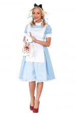 Ladies Alice in Wonderland Fancy Dress Storybook Hens Party Costume Halloween Outfit