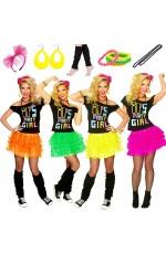 80s Party Girl T-shirt Skirt Costume Full Set