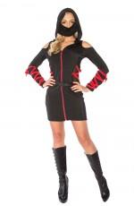 Ladies Ninja Assassin Costume Womens Japanese Deadly Halloween Black Fancy Dress